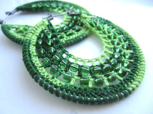 Crocheted Hoops with Beads in Green by BohemianHooksJewelry