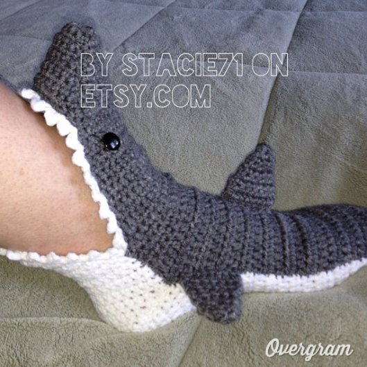 Crochet Shark Slippers Free Pattern For Adults : Shark Sock Slippers by Stacie71 T-Reds Craft Blog